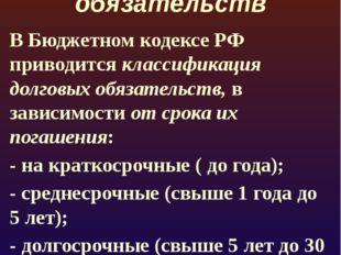 Классификация долговых обязательств В Бюджетном кодексе РФ приводится класси