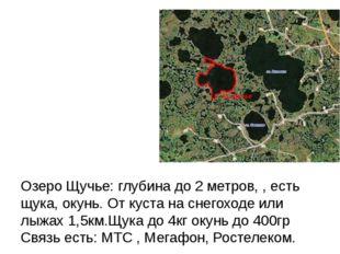 Озеро Щучье: глубина до 2 метров, , есть щука, окунь. От куста на снегоходе