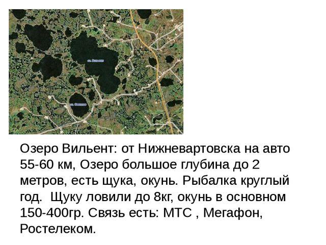 Озеро Вильент: от Нижневартовска на авто 55-60 км, Озеро большое глубина до...