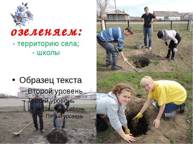 озеленяем: - территорию села; - школы