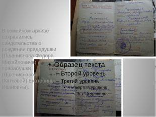 В семейном архиве сохранились свидетельства о рождении прадедушки (Пшениснов