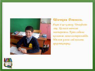 Шичкин Дениссь. Якан 6-це классу. Тонафнян лац. Кельгса шачема масторозень. Е