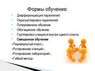 Дифференциация параллелей Перегруппировка параллелей Попеременное обучение Об