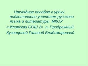 Наглядное пособие к уроку подготовлено учителем русского языка и литературы