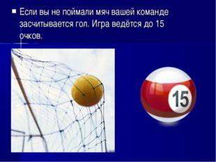 Если вы не поймали мяч вашей команде засчитывается гол. Игра ведётся до 15 оч