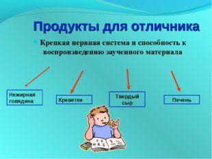 Продукты для отличника Крепкая нервная система и способность к воспроизведени