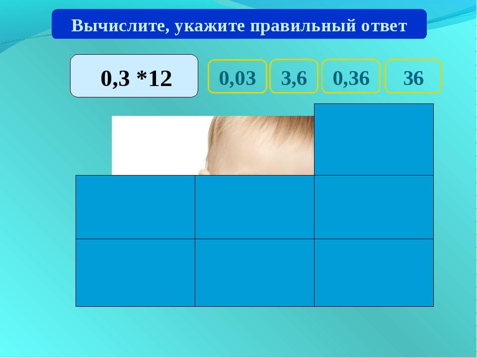 0,03 36 0,36 3,6 Вычислите, укажите правильный ответ 0,3 *12