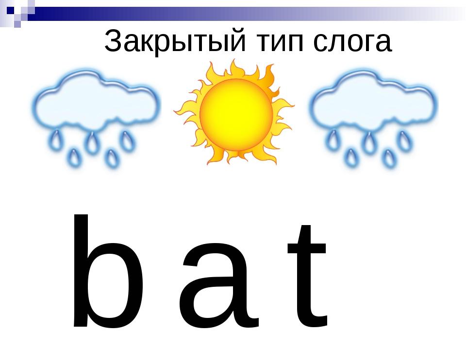 Закрытый тип слога b a t
