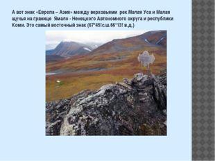 А вот знак «Европа – Азия» между верховьями рек Малая Уса и Малая щучья на гр