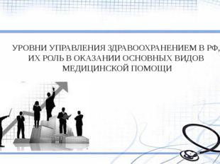 УРОВНИ УПРАВЛЕНИЯ ЗДРАВООХРАНЕНИЕМ В РФ, ИХ РОЛЬ В ОКАЗАНИИ ОСНОВНЫХ ВИДОВ МЕ