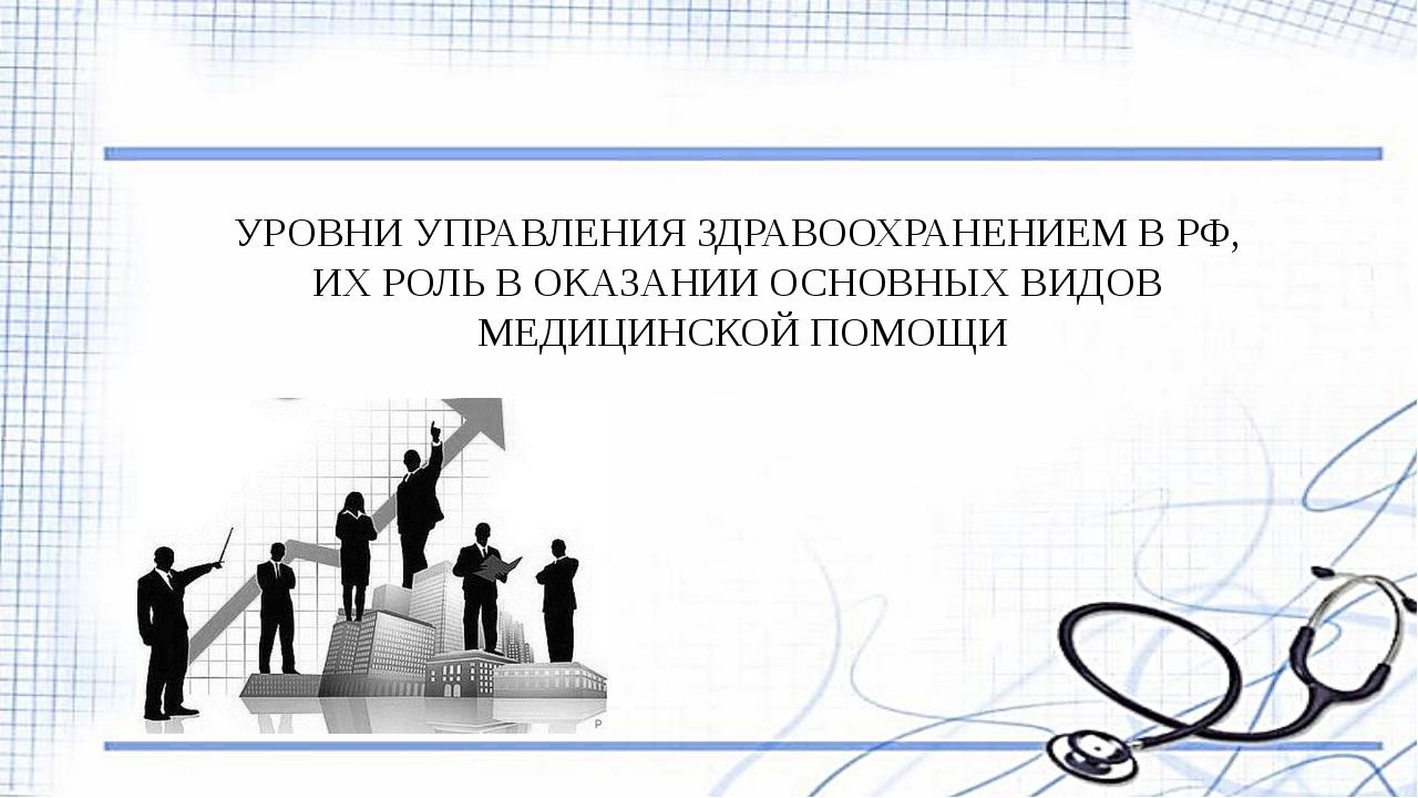 УРОВНИ УПРАВЛЕНИЯ ЗДРАВООХРАНЕНИЕМ В РФ, ИХ РОЛЬ В ОКАЗАНИИ ОСНОВНЫХ ВИДОВ МЕ...