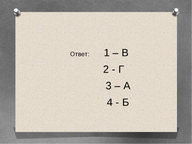 Ответ: 1 – В 2 - Г 3 – А 4 - Б
