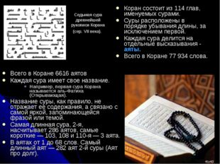 Всего в Коране 6616 аятов Каждая сура имеет свое название. Например, первая