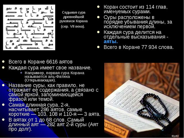 Всего в Коране 6616 аятов Каждая сура имеет свое название. Например, первая...