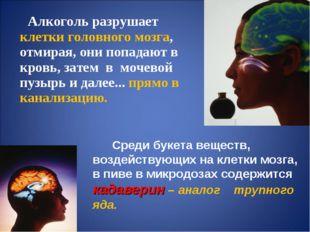 Алкоголь разрушает клетки головного мозга, отмирая, они попадают в кровь, за