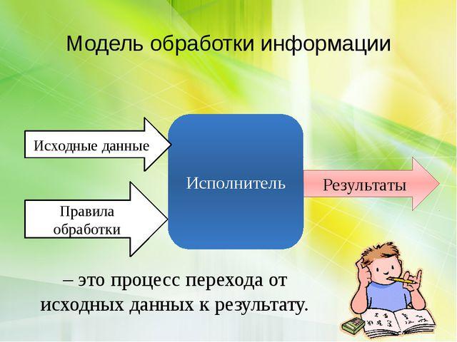 Модель обработки информации Правила обработки Результаты Исполнитель Исходные...
