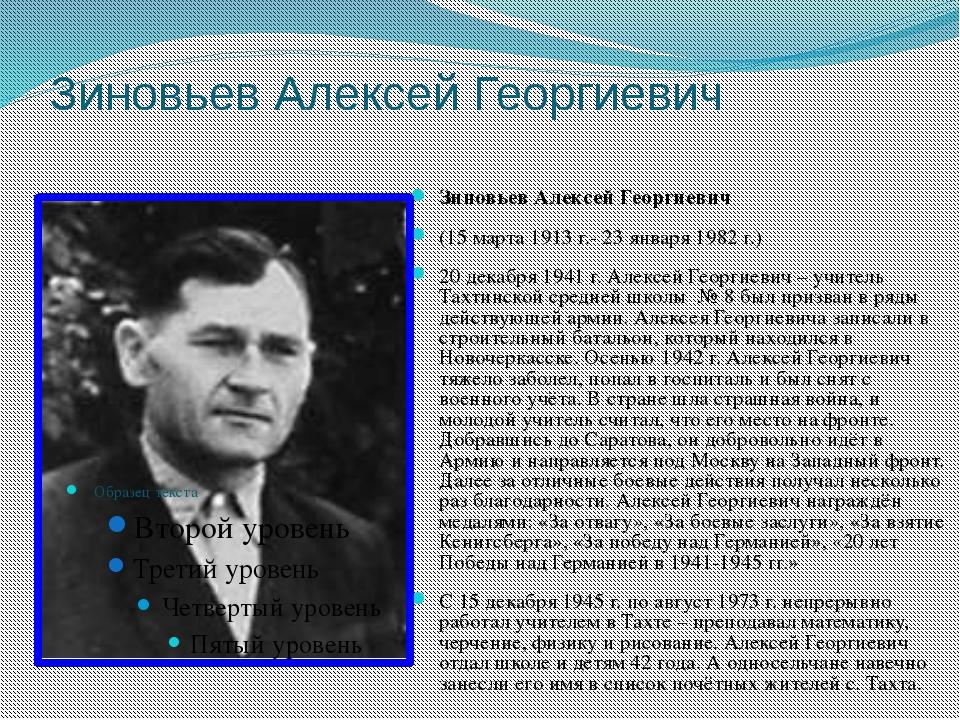 Зиновьев Алексей Георгиевич Зиновьев Алексей Георгиевич (15 марта 1913 г.- 23...