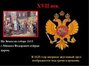 * XVII век На Земском соборе 1613 г.Михаил Федорович избран царем. В 1625 год