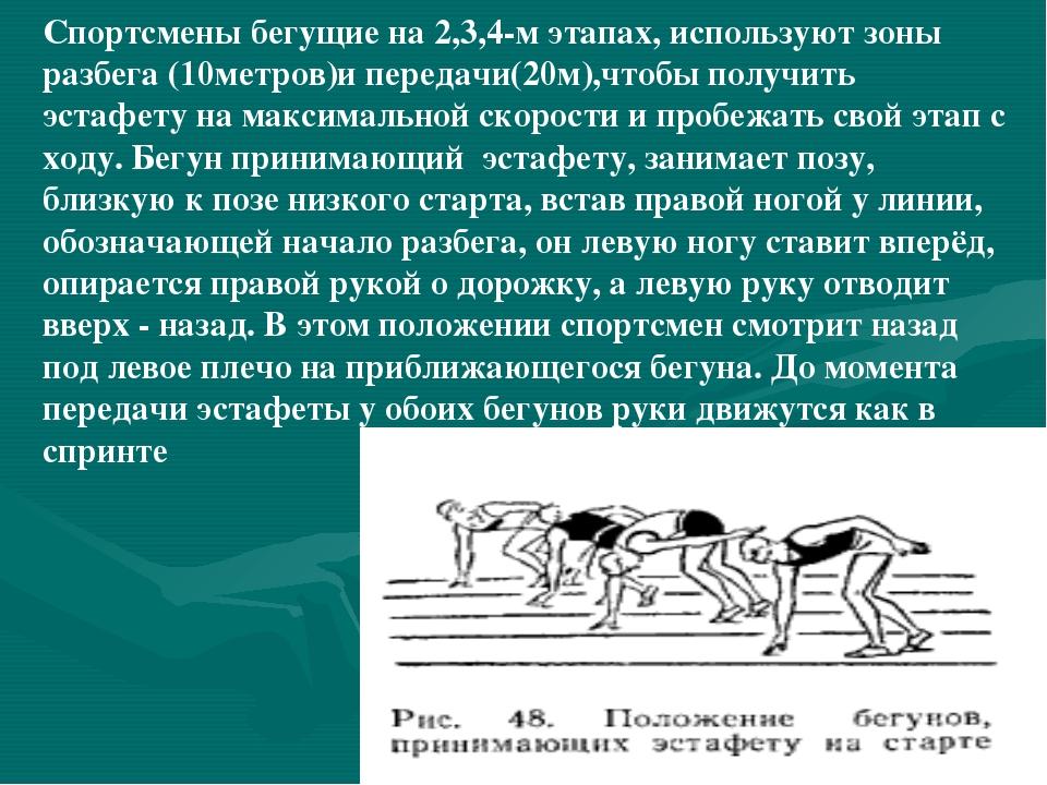 Спортсмены бегущие на 2,3,4-м этапах, используют зоны разбега (10метров)и пер...