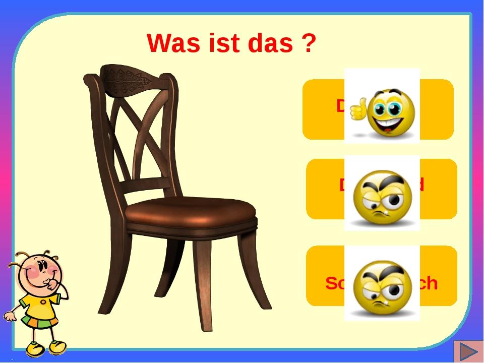 Was ist das ? Der Stuhl Die Wand Der Schreibtisch