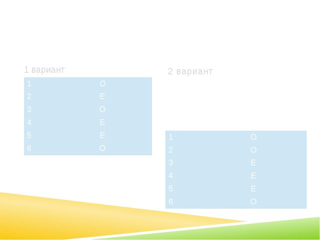 О и Е в суффиксах существительных (лист 7) 1 вариант 2 вариант 1 О 2 Е 3 О 4...