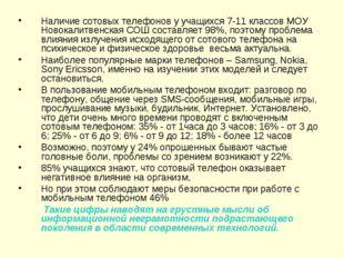 Наличие сотовых телефонов у учащихся 7-11 классов МОУ Новокалитвенская СОШ со