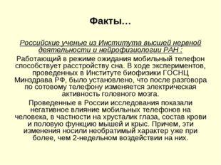 Факты… Российские ученые из Института высшей нервной деятельности и нейрофизи