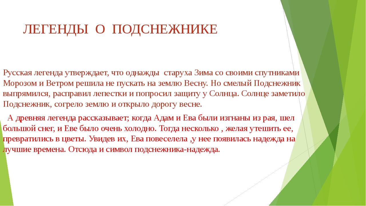 ЛЕГЕНДЫ О ПОДСНЕЖНИКЕ Русская легенда утверждает, что однажды старуха Зима со...