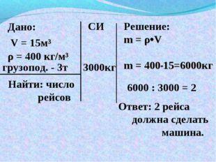 Дано: V = 15м³ ρ = 400 кг/м³ Найти: число рейсов Решение: m = ρ•V m = 400*15=