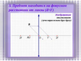 3. Предмет находится на фокусном расстоянии от линзы (d=F) A B Изображение: о