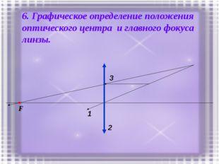 6. Графическое определение положения оптического центра и главного фокуса лин