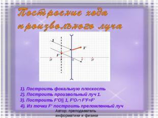 1). Построить фокальную плоскость 1 1' F' 2). Построить произвольный луч 1. 3