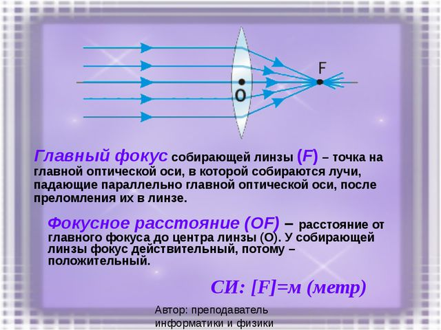 Главный фокус собирающей линзы (F) – точка на главной оптической оси, в котор...