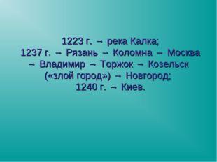 1223 г. → река Калка; 1237 г. → Рязань → Коломна → Москва → Владимир → Торжок