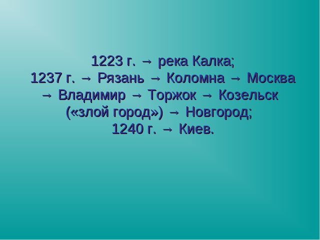 1223 г. → река Калка; 1237 г. → Рязань → Коломна → Москва → Владимир → Торжок...