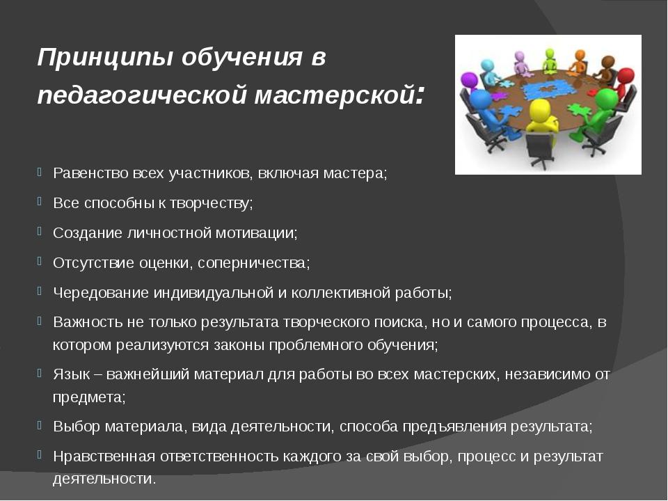 Принципы обученияв педагогической мастерской: Равенство всех участников, вкл...