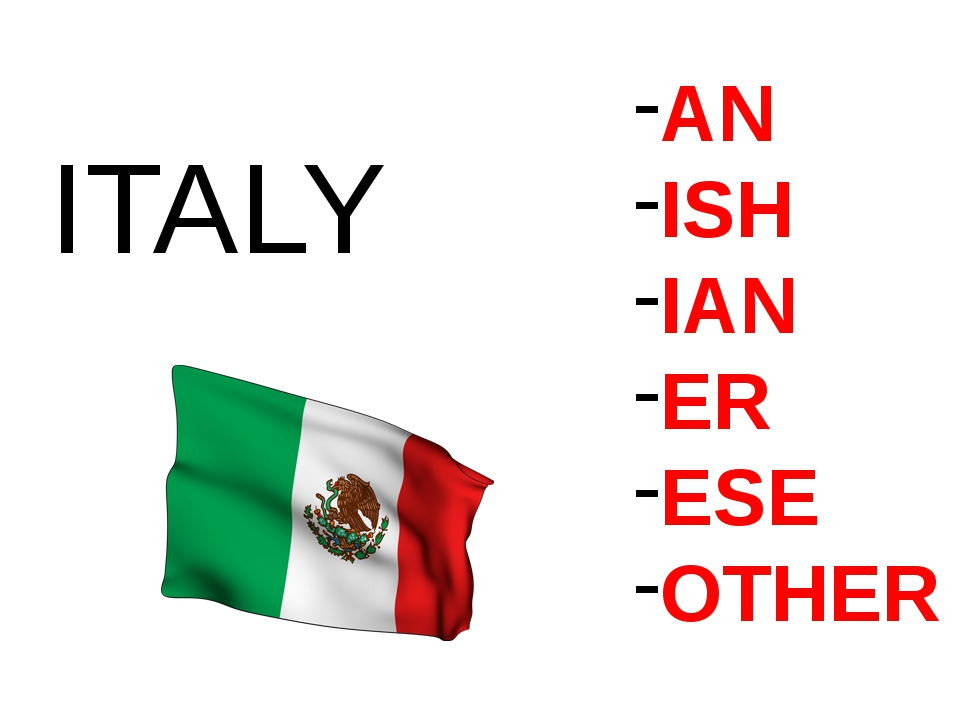 AN ISH IAN ER ESE OTHER ITALY