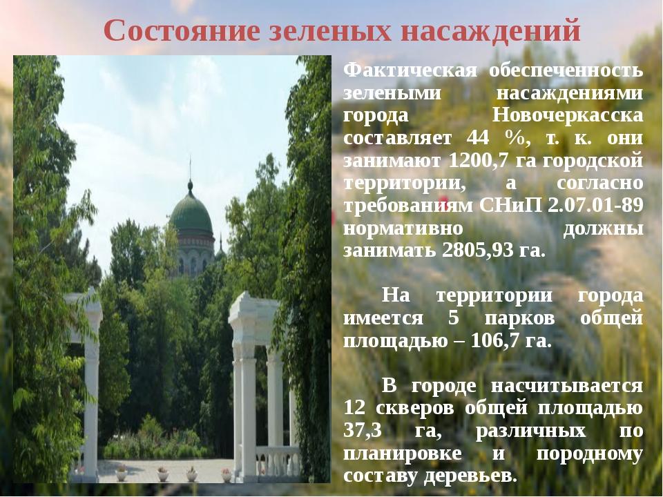 Состояние зеленых насаждений    Наиболее крупный зеленый массив в городе...