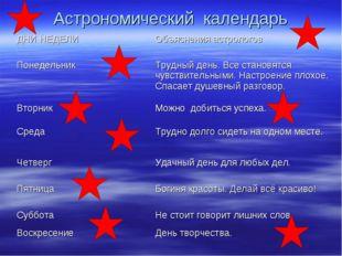Астрономический календарь ДНИ НЕДЕЛИОбъяснения астрологов Понедельник Трудн