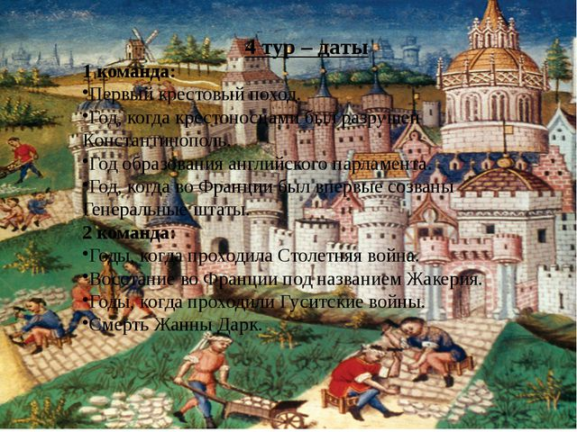 4 тур – даты 1 команда: Первый крестовый поход. Год, когда крестоносцами был...