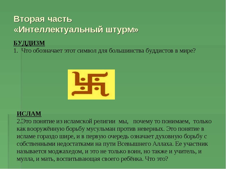 Вторая часть «Интеллектуальный штурм» БУДДИЗМ 1. Что обозначает этот символ д...