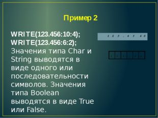 Пример 2 WRITE(123.456:10:4); WRITE(123.456:6:2); Значения типа Char и String