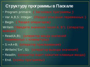 Структуру программы в Паскале Program primer4; { Заголовок программы } Var A,