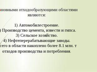 Основными отходообразующими областями являются: 1) Автомобилестроение. 2) Про