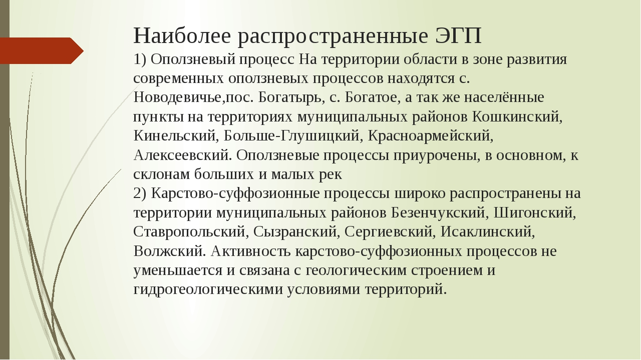 Наиболее распространенные ЭГП 1) Оползневый процесс На территории области в з...