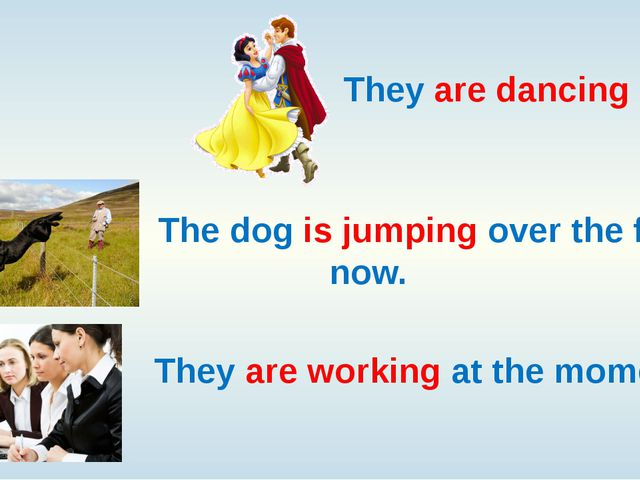 They are dancing now. The dog is jumping over the fence now. They are workin...