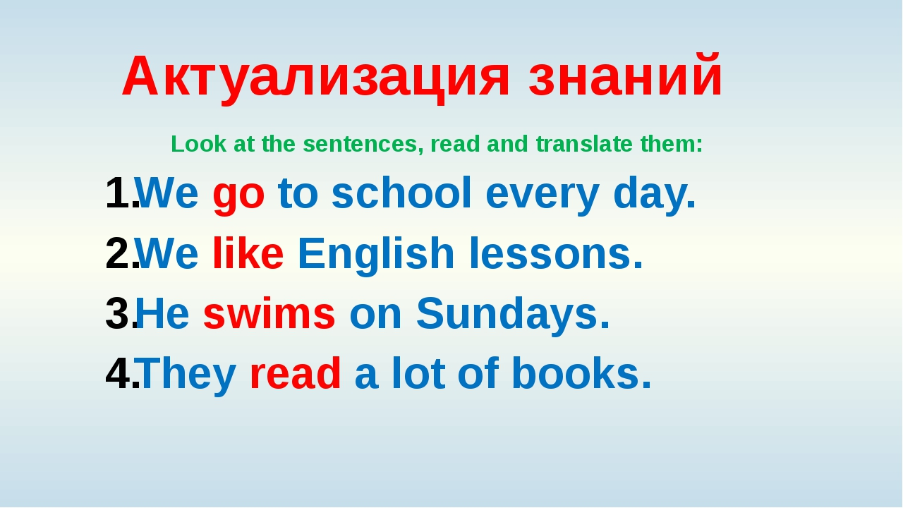 Актуализация знаний Look at the sentences, read and translate them: We go to...