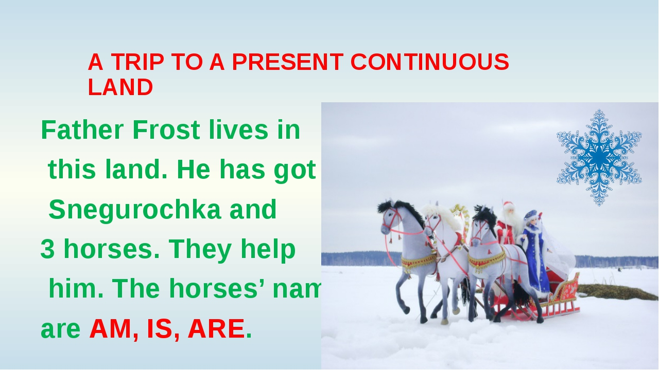 A TRIP TO A PRESENT CONTINUOUS LAND Father Frost lives in this land. He has g...