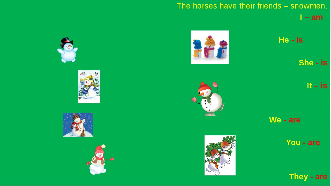The horses have their friends – snowmen. I – am He - is She - is 	 It – is...