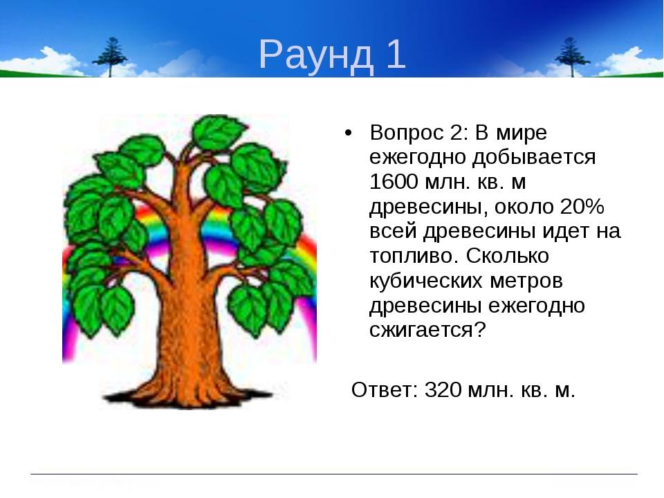 Раунд 1 Вопрос 2: В мире ежегодно добывается 1600 млн. кв. м древесины, около...
